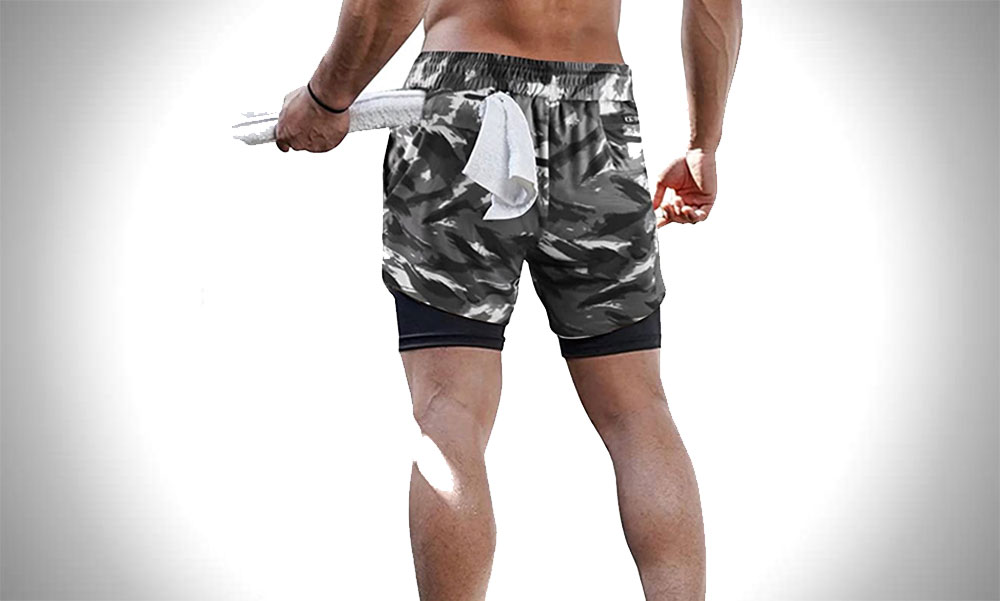 Surenow 2 in 1 Shorts with Compression | Men's Camo Gym Shorts
