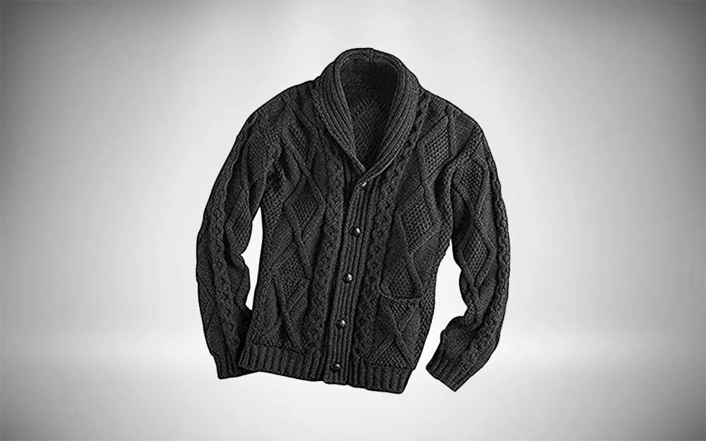 Ivy League Style - Aran Crafts Shawl Collar Cardigan